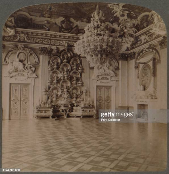 Throne Room, Royal Palace, Berlin, with-plate-laden sideboard and regal decorations, Germany', 1903. Baroque interior at Berlin City Palace which was...