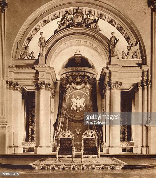 Thrones in the ballroom at Buckingham Palace 1935 From King Emperor's Jubilee by F G H Salusbury