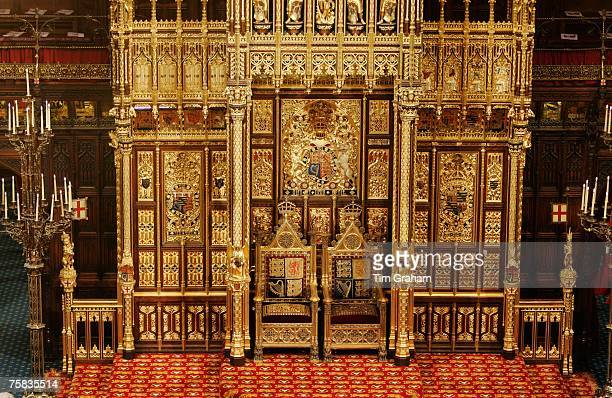 Thrones used in State Opening of Parliament ceremony House of Lords Houses of Parliament England United Kingdom