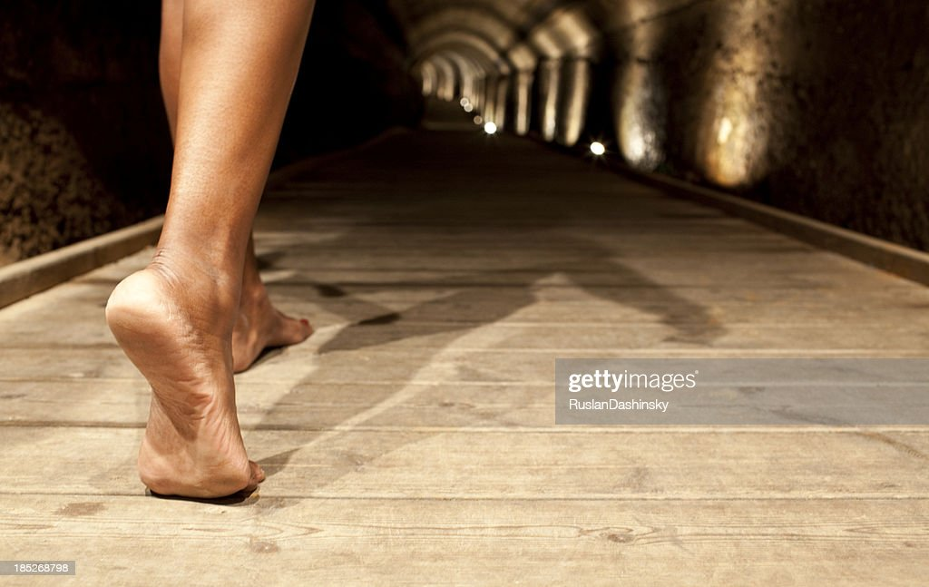 Through a mysterious tunnel in the dark : Stock Photo