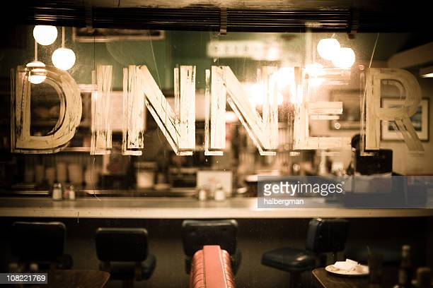 through the glass of a diner window - diner stock pictures, royalty-free photos & images