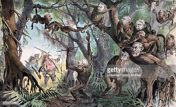 Through the jungle by Udo Keppler 18721956 artist Published 1893 Shows President Cleveland as an explorer with cabinet members John G Carlisle and...