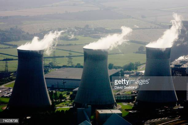 NOTTINGHAMSHIRE ENGLAND SEPTEMBER 2006 Through the summer haze the High West Burton cooling Towers can be seen in this aerial photo taken on 9th...