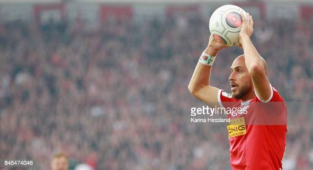 Throw in by Daniel Brueckner of Erfurt during the 3Liga match between FC Rot Weiss Erfurt and FC Carl Zeiss Jena at Steigerwaldstadion on September...