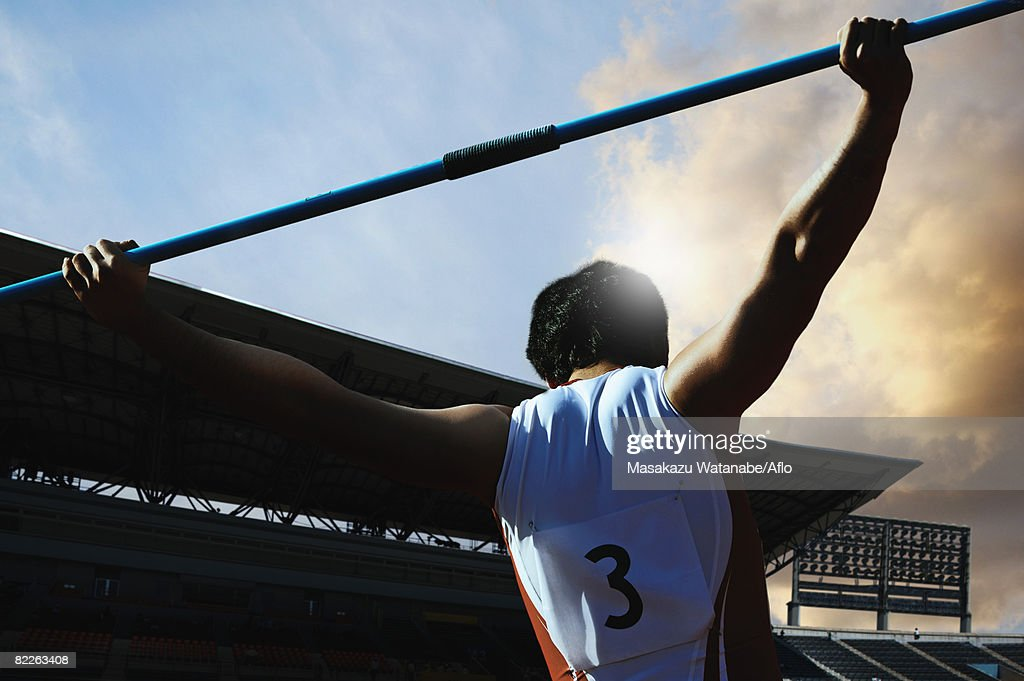 Thrower Preparing to Throw Javelin : Stock Photo