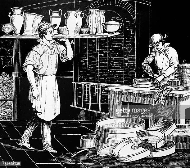 Throwing pots The potters are rotating their wheels with their feet From ''Chemical Technology'' Philadelphia by F Knapp