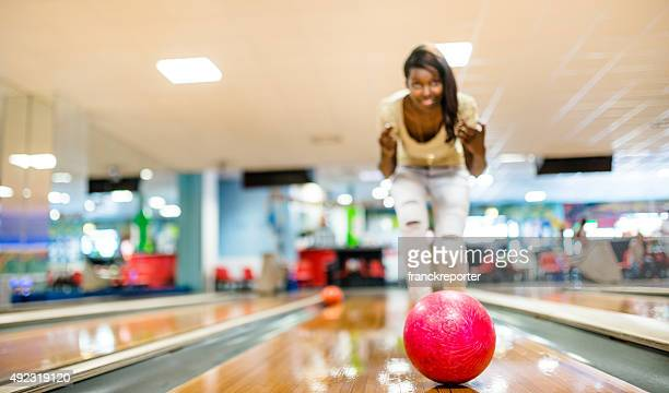 throwing the bowling ball in a pub