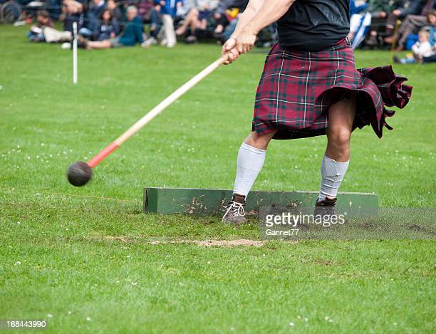 throwing the hammer - kilt stock photos and pictures