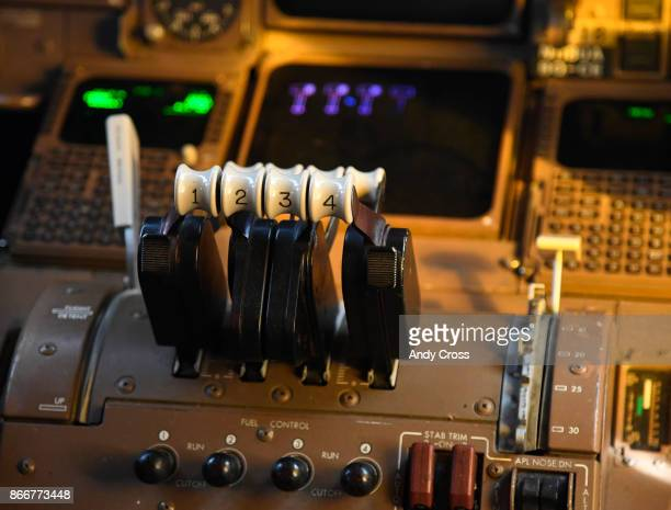Thrust levers inside the iconic Boeing 747 parked at the United's Bconcourse at Denver International Airport October 26 2017 United's Boeing 747...