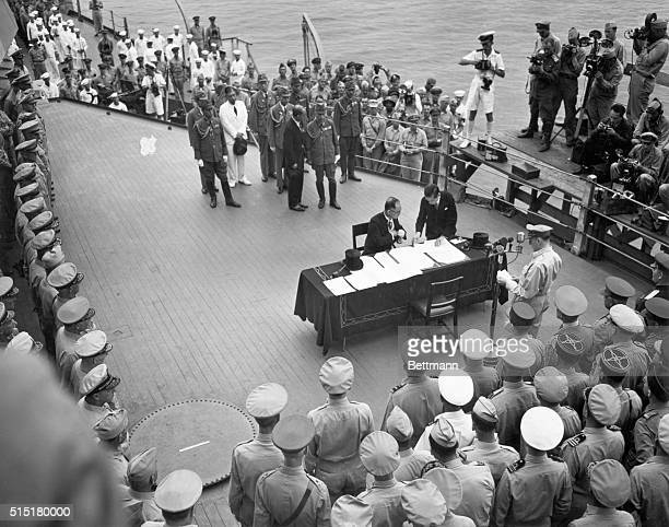 Ths surrender of Japan is broadcast over radio on board the USS Missouri. Japanese Foreign Minister Mamoru Shigemitsu signs the surrender treaty...
