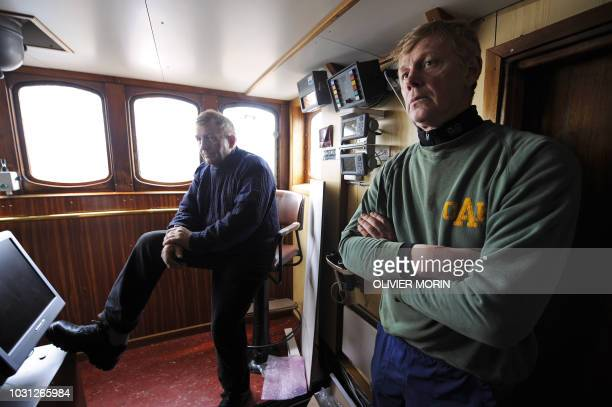 Thsi file picture shows whaler and Captain Olafur Olafsson and his number two Hafstian Omar Thorstainsson on April 21, 2009 in the central control...