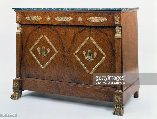 Thuja burr veneered sideboard with marble top 19th century
