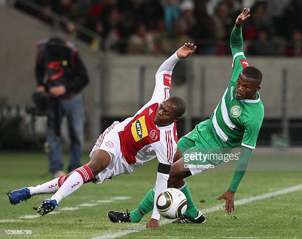 Thulani Serero from Ajax CT and Angelo Kerspuy from Bloemfontein Celtic in action during the Absa Premiership match between Ajax Cape Town and...