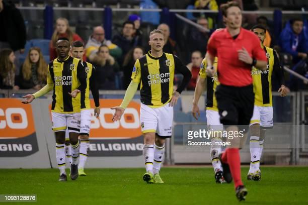 Thulani Serero of Vitesse, Alexander Buttner of Vitesse,referee Martin van den Kerkhof , Jake Clarke Salter of Vitesse during the Dutch Eredivisie...