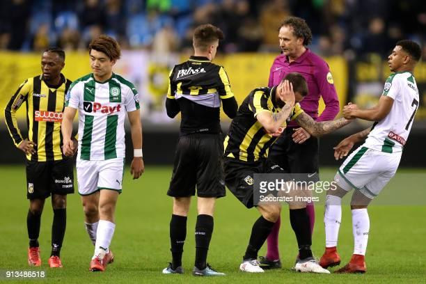 Thulani Serero of Vitesse Ritsu Doan of FC Groningen Mason Mount of Vitesse Tim Matavz of Vitesse Juninho Bacuna of FC Groningen during the Dutch...