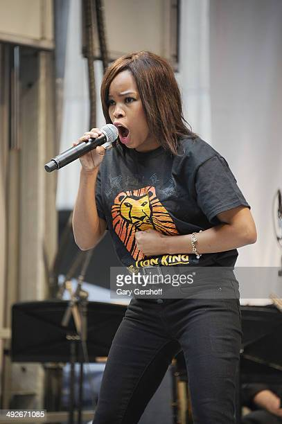 Thulisile Thusi of the cast of 'The Lion King' performs on stage during 'Stars In The Alley' at Shubert Alley on May 21 2014 in New York City