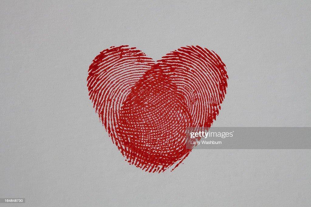 Thumbprint heart : Stock Photo