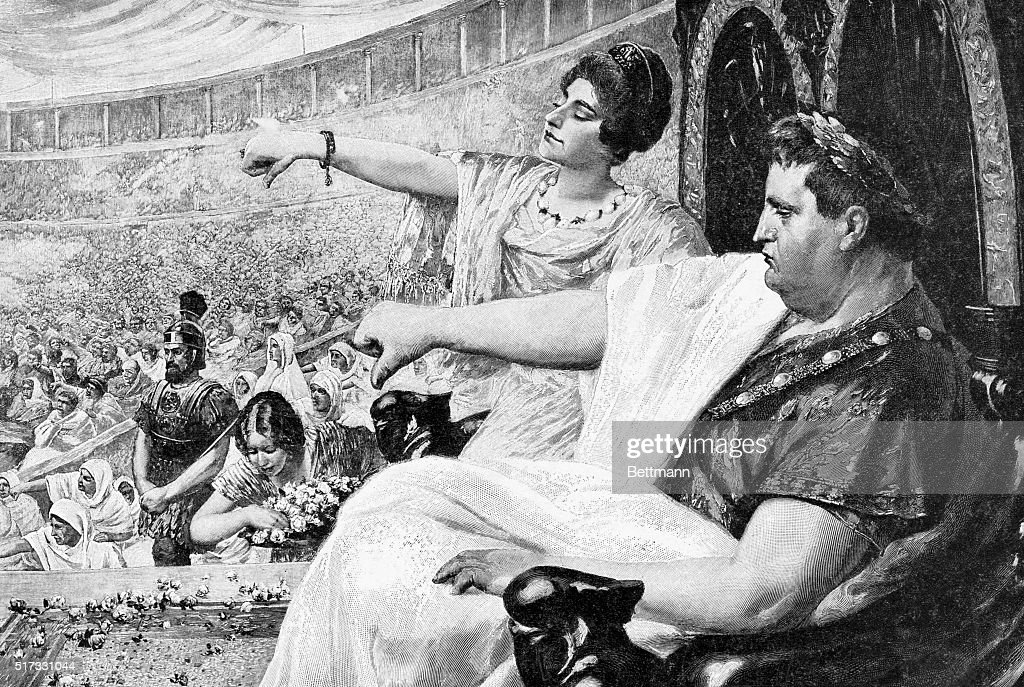 """Illustration Showing the Emperor Nero Giving the """"Thumbs Down"""" Signal : News Photo"""