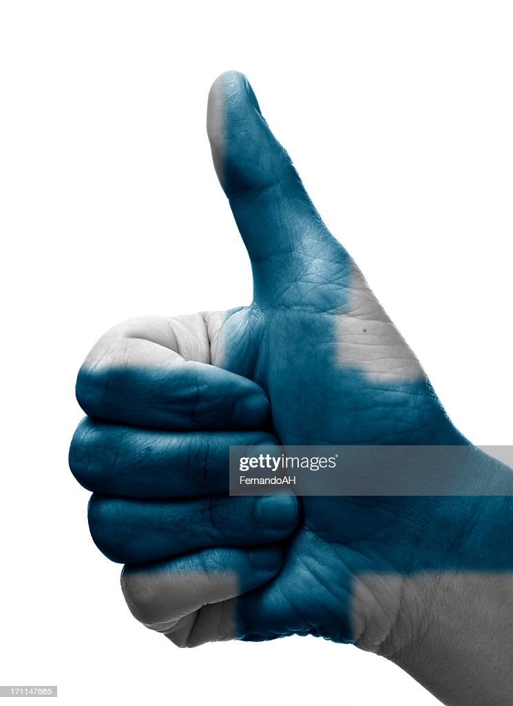Thumbs up Finland : Stock Photo