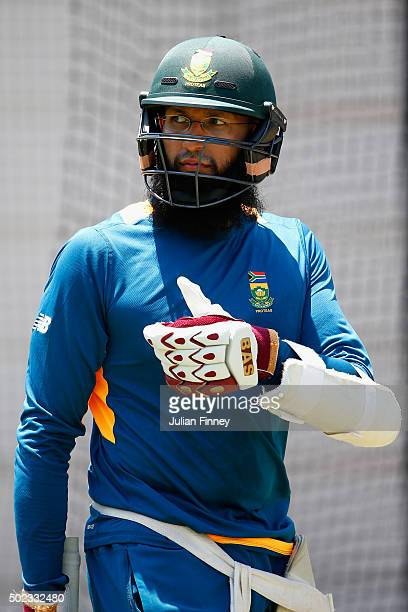 Thumbs up from Captain Hashim Amla of South Africa during South Africa nets and training session at Sahara Stadium Kingsmead on December 23 2015 in...