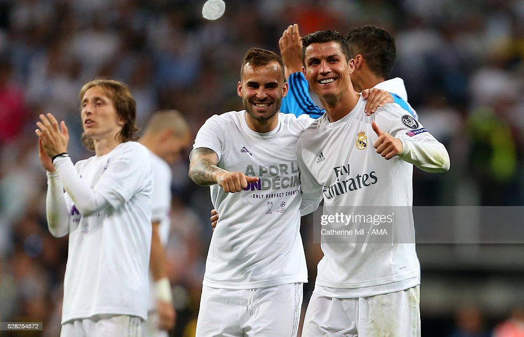 A thumbs up from Cristiano Ronaldo and Jese of Real Madrid after the UEFA Champions League Semi Final second leg match between Real Madrid and Manchester City FC at Estadio Santiago Bernabeu on May 4, 2016 in Madrid, Spain.
