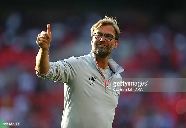 A thumbs up from Jurgen Klopp manager of Liverpool after the International Champions Cup 2016 match between Liverpool and Barcelona at Wembley...