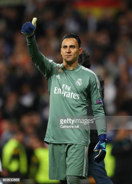 A thumbs up from Keylor Navas of Real Madrid during the UEFA Champions League Semi Final Second Leg match between Real Madrid and Bayern Muenchen at...