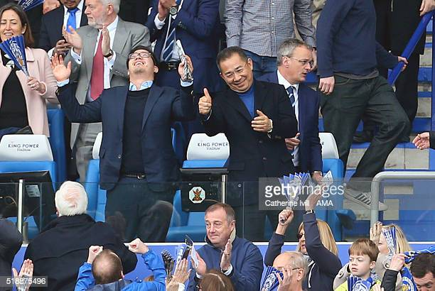 A thumbs up from Leicester City owner Vichai Srivaddhanaprabha as he and his son Aiyawatt celebrate at the end of the Barclays Premier League match...