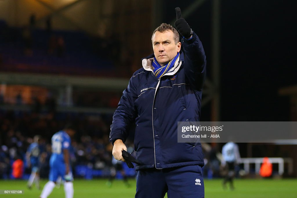 A thumbs up from Micky Mellon manager of Shrewsbury Town after the Sky Bet League One match between Peterborough United and Shrewsbury Town at London Road Stadium on December 12, 2015 in Peterborough, England.