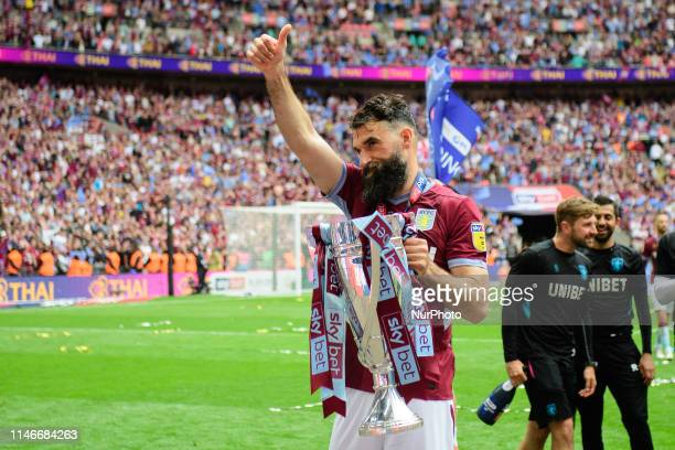 Thumbs up from Mile Jedinak of Aston Villa during the Sky Bet Championship match between Aston Villa and Derby County at Wembley Stadium, London on...