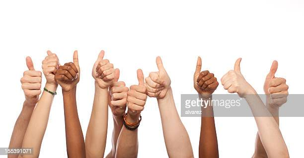thumbs up hands raised - enjoyment stock pictures, royalty-free photos & images