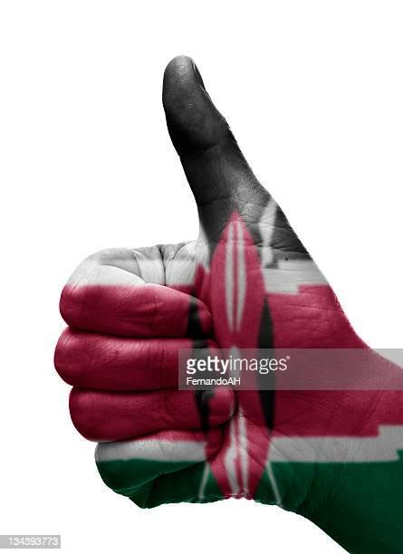 thumbs up kenya - kenyan flag stock pictures, royalty-free photos & images