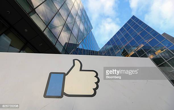 A thumbs up symbol stands at the entrance to the Facebook Inc European headquarters in Dublin Ireland on Thursday Nov 24 2016 Irish ministers and...