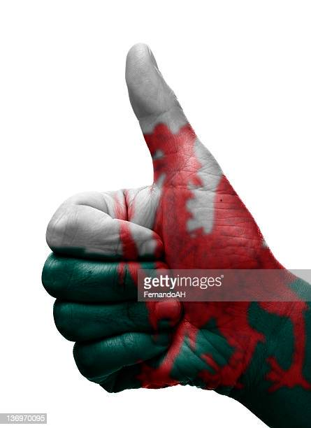 thumbs up wales - welsh flag stock pictures, royalty-free photos & images