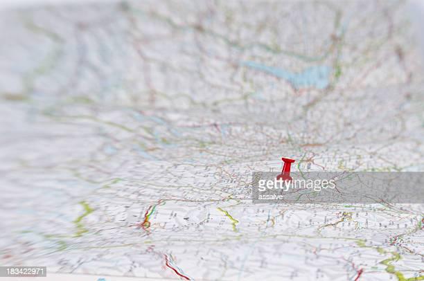 Heftzwecke auf große Karte