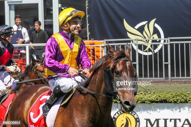 Thumbtacks ridden by Rhys McLeod returns after winning the AWM Seaford Legends Handicap at Mornington Racecourse on December 08, 2017 in Mornington,...