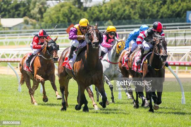 Thumbtacks ridden by Rhys McLeod wins the AWM Seaford Legends Handicap at Mornington Racecourse on December 08, 2017 in Mornington, Australia.
