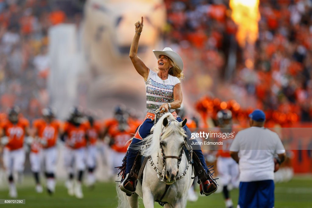 Thunder and Ann Judge-Wegener lead the Denver Broncos onto the field before a Preseason game against the Green Bay Packers at Sports Authority Field at Mile High on August 26, 2017 in Denver, Colorado.