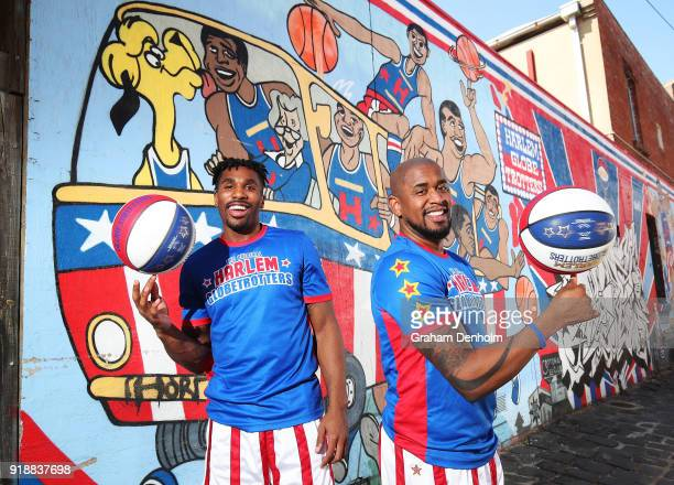 Thunder and Scooter of the Harlem Globetrotters pose next to a Harlem Globetrotters graffiti mural during a media opportunity on February 16 2018 in...
