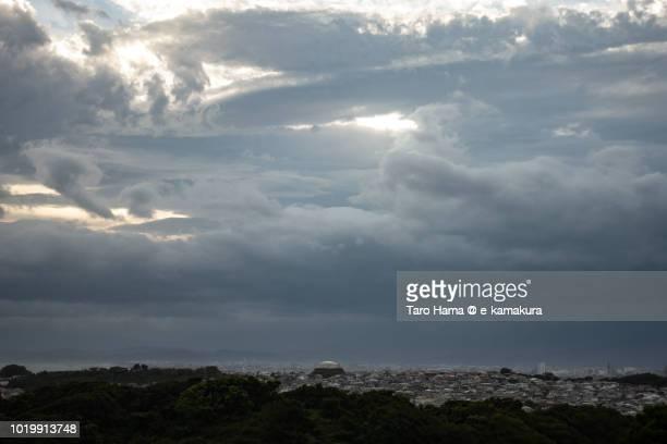 Thunder clouds on Sagami Bay, and Kamakura, Fujisawa, Chigasaki and Hiratsuka cities in Kanagawa prefecture in Japan