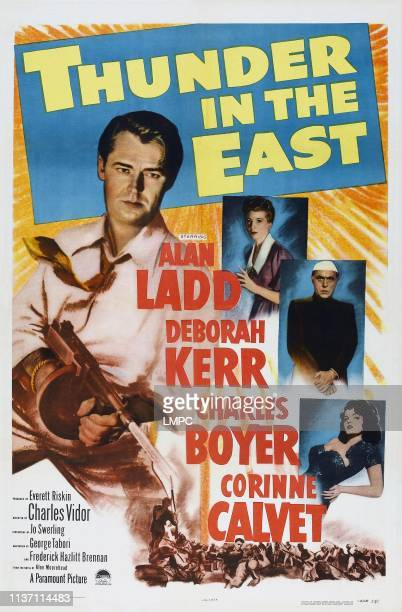 Thunder In The East poster US poster art from top left Alan Ladd Deborah Kerr Charles Boyer Corinne Calvet 1952