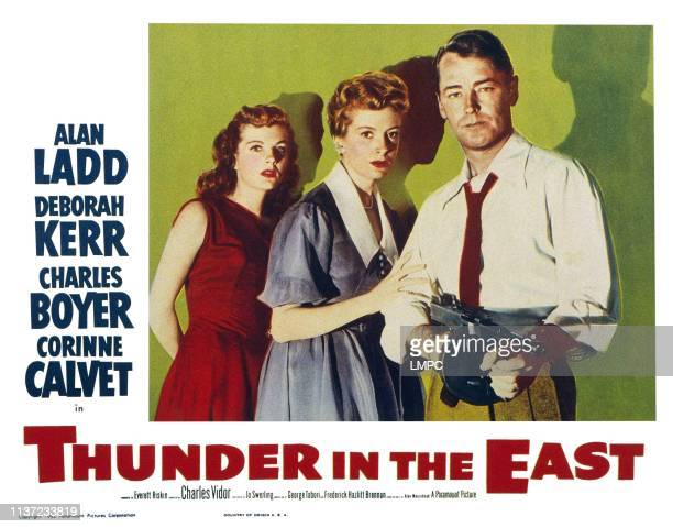 Thunder In The East US lobbycard from left Corinne Calvet Deborah Kerr Alan Ladd 1952