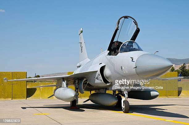 a jf-17 thunder of the pakistan air force at the izmir air show 2011 in turkey, celebrating 100 years of the turkish air force. - airfield stock pictures, royalty-free photos & images
