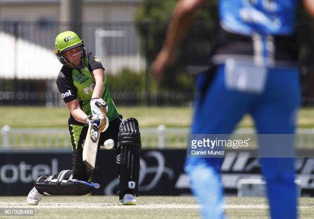 Thunder Rachel Priest bats during the Women's Big Bash League match between the Sydney Thunder and the Adelaide Strikers on January 20 2018 in Wagga...