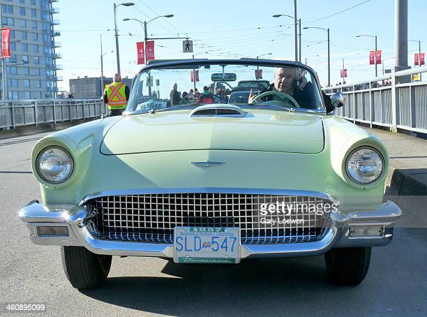 Thunderbird rolling down the Burrard Street Bridge in Vancouver BC during St Patrick's Day Parade