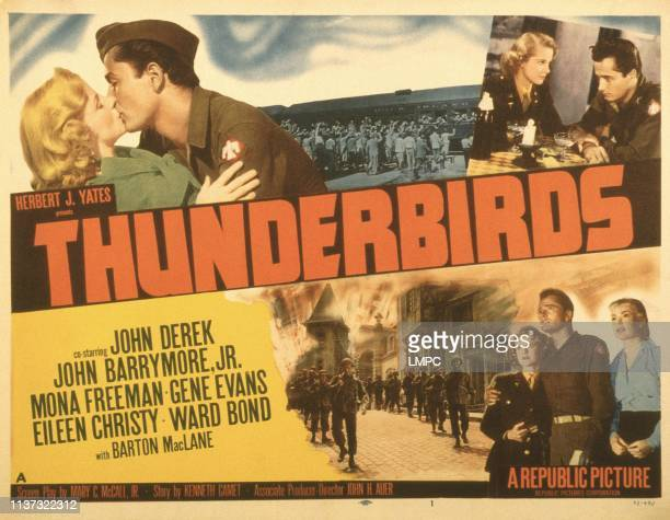 Thunderbirds poster US poster top from left Mona Freeman John Drew Barrymore Mona Freeman John Derek bottom from left Mona Freeman John Derek Eileen...