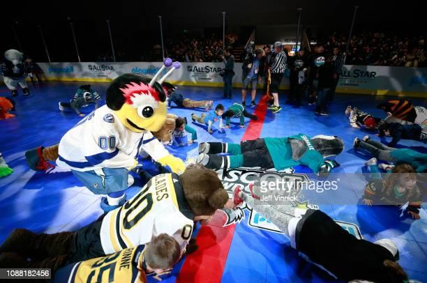 Thunderbug of the Tampa Bay Lightning participates in the 2019 NHL AllStar Mascot Showdown on January 24 2019 in San Jose California