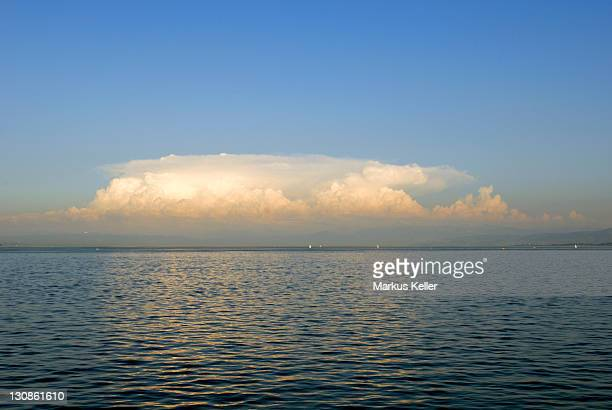 A thundercloud (Cumulonimbus) over the lake-constance, Baden Wuerttemberg, Germany, Europe.