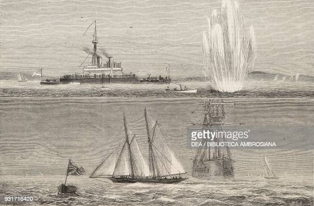 Thunderer at torpedo practice 2 the Royal Yacht Squadron Regatta the Hildegarde winning the Queen's Cup Cowes United Kingdom illustration from the...