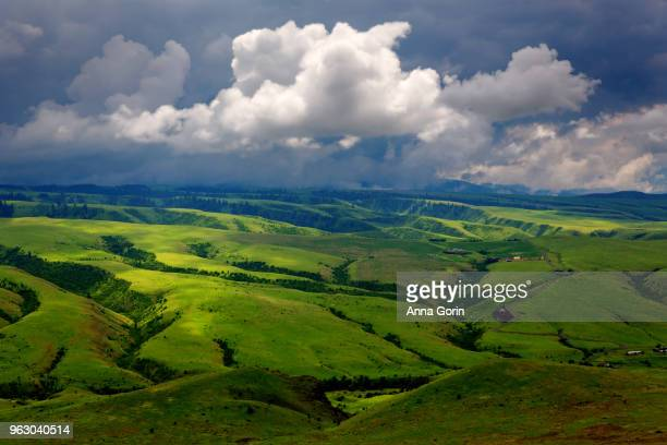 Thunderhead clouds over sun-dappled lush green hills surrounding White Bird Canyon in spring, central Idaho